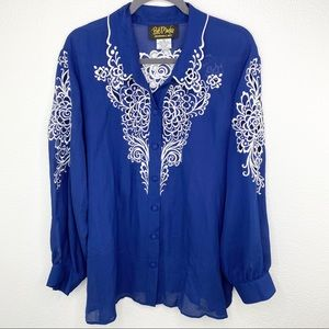Bob Mackie Blue Silk Embroidery Blouse